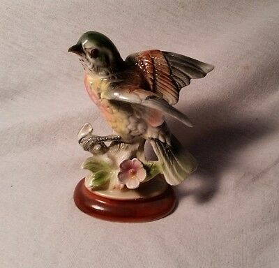 Vintage Japanese Figurine 'Hummingbird on Flowers'