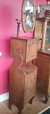 Antique American Shaving Stand, Oak, adjustable mirror with candle holders