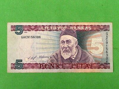 LITHUANIA 1993, 5 Litai Rare Collectible Banknote.