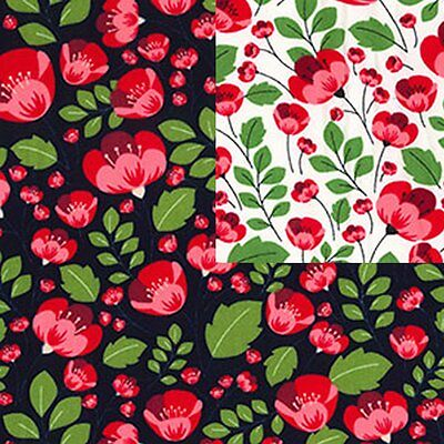 Cotton Poplin Fabric 482 Material Floral Poppy