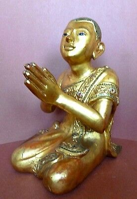 Burmese Kneeling Monk Temple Figure Gilt lacquer Teak Wood Coloured Glass Inlay