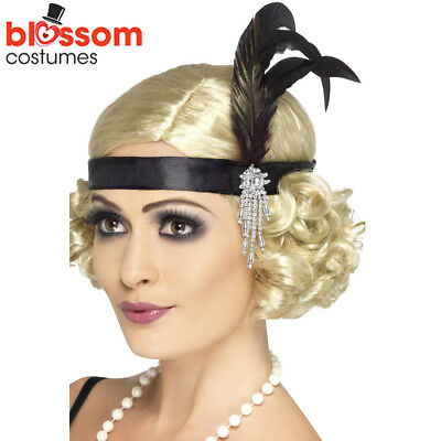 AC42 Black Charleston Headband Gatsby Headpiece Flapper 1920s Costume Feather