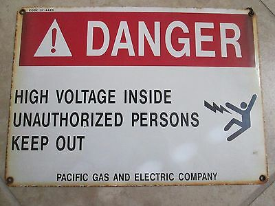 Vintage Metal Enamel Danger High Voltage Keep Out Sign Pacific Gas and Electric