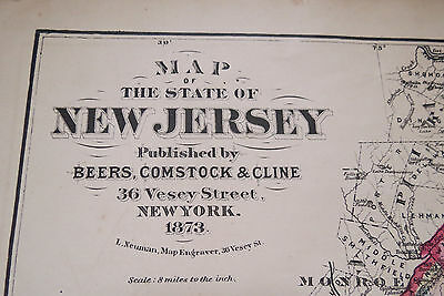 1873 MAP STATE of NEW JERSEY - BEERS COMSTOCK & CLINE - Hand Colored