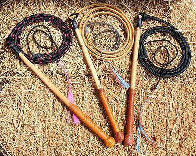 5'6 All Weather Australian Stock Whip with Leather Decorated Handle