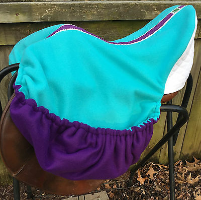 Double Fleece Custom Made English Dressage Saddle Cover Teal Purple White Bling