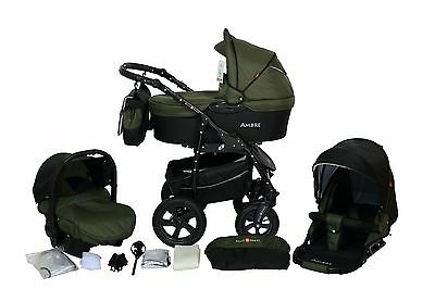 Classic Kinderwagen 3in1 AMBRE Travel system Pram Buggy Poussette + viele Extras