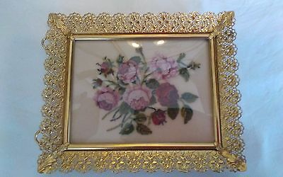 Vtg framed micro petit point pink roses on silk miniature convex glass 5.5x4.5