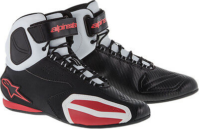 ALPINESTARS FASTER Road Racing Street Motorcycle Shoes (Black/White/Red) US 9