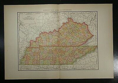 1895~KENTUCKY TENNESSEE~Antique COLOR Map~Rand McNally~11x14~Authentic Original