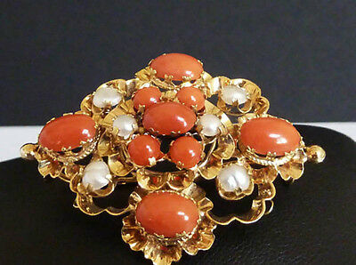 Très Belle Broche Ancienne en Or Jaune 18CT, Corail & Perles Fines