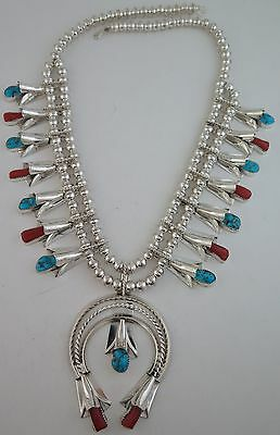 Navajo Louise Yazzie Sterling Silver Turquoise & Coral Squash Blossom Necklace