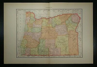 1895~OREGON~Antique COLOR Map~Rand McNally~11x14~Old Authentic & Original