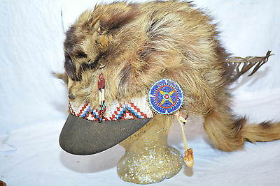 Genuine Antique Wyoming Beaded Raccoon Hat owned by famous Mountain Man