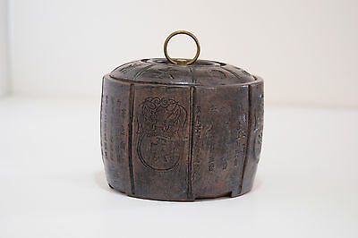 Yixing clay tea caddy, lidded jar, container, barrel, cannister.. signed.