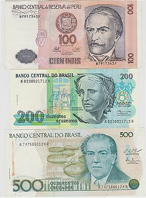 UNCIRCULATED Foreign Currency Lot - 3 Notes - Brazil, Peru  UNC.