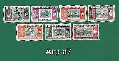 (BL-20) Bolivia series of 7 stamps MNH ** 1951 Airmail - Sports