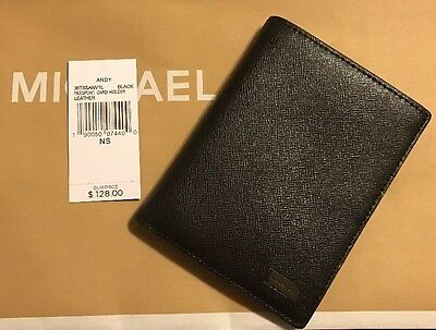 MICHAEL KORS JET SET MEN'S PASSPORT CARD HOLDER  IN Black Leather NWT