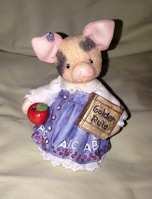 """1995 Enesco TLP This Little Piggy Figurine """"Learning Is Never A Boar With You"""""""