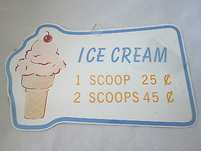 METAL ICE CREAM CONE W A CHERRY ON TOP METAL SIGN 1 SCOOP 25c 2 SCOOPS 45c CUTE!