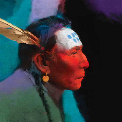 Native American Indian Chief Colourful Oil Painting Portrait On Canvas Wild West