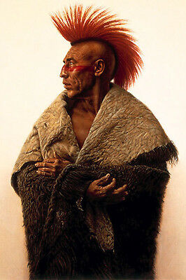 Native American Indian Chief Mohican Oil Painting Portrait On Canvas Wild West