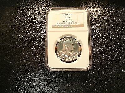 1963  Franklin Silver Half Dollar Ngc Pf-67  Proof Brillant-Affordable--Offers