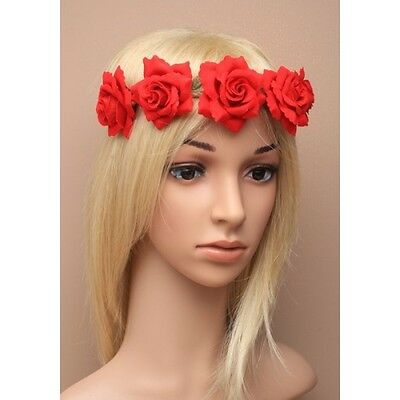 Large Fabric Red Rose Hair Garland Elasticated Stretch Bandeaux