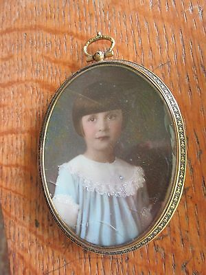 Antique Young Girl Portrait Painted on Porcelain Oval Brass Embossed Frame AsIs