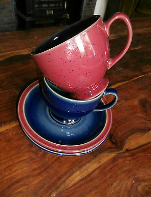 Two Denby Harlequin cups and saucers blue burgundy green cup 3.5 by 3