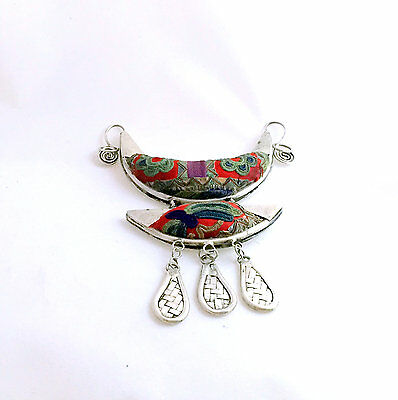 Handmade Miao Ethnic Silver Embroidery Pendant Statement Necklace jewellery