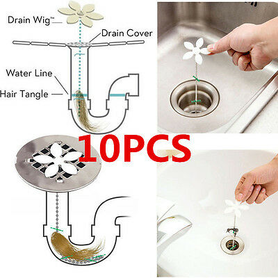 10pc DRAINWIG Drain Wig Bathtub Chain Cleaner Hair Bathroom Clog Remover Durable