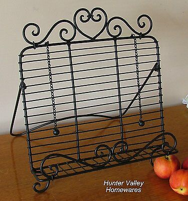 Country Kitchen Recipe Holder Heart - Rustic Metal Cook Book Stand - Black SH45
