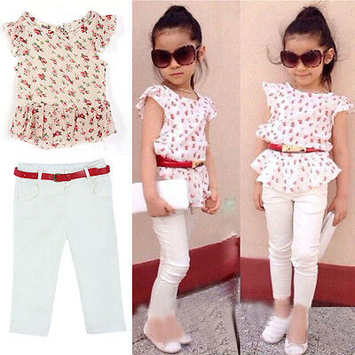 Girls Kids Summer Outfits Flower Short Sleeve T-shirt + Pants + Belt Clothes Set
