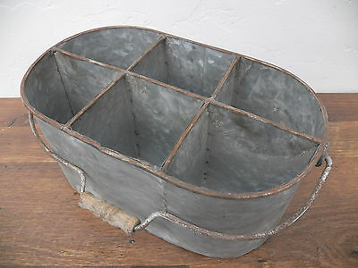 Industrial Galvanized 6 Place Oval Bucket w/ Wood Handle Utensil Tool Caddy