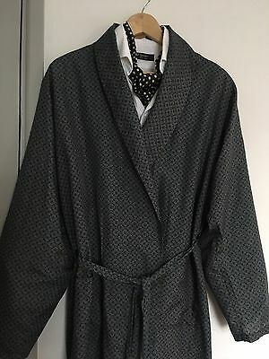 Vintage Men's Dunn And Co Blues Greens Dressing Gown/ Lounge Jacket M/ 40