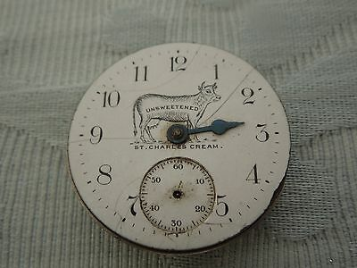 """""""St Charles Cream"""" Advertising Pocket watch dial for Elgin movement. estate find"""