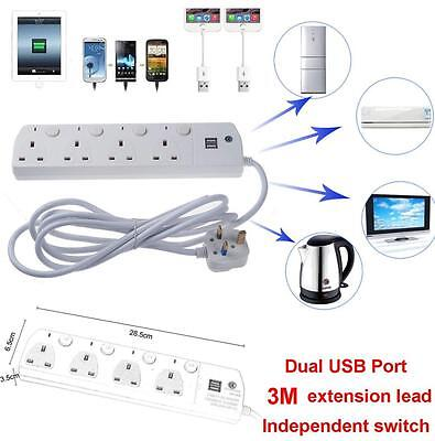 2 USB 4 Way Outlet Power Extension 3m Cable Socket Main Lead UK Plug With Switch