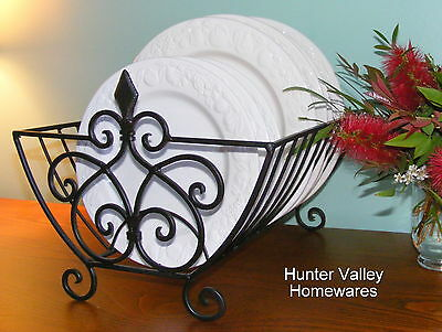 Dish Rack Plate Kitchen Drainer Metal Stand - French Finial Rustic Black - SH55
