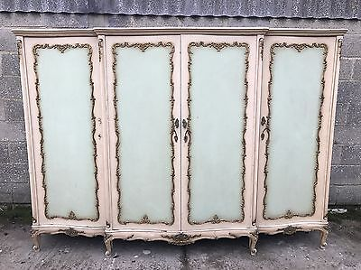 Rare, French, Antique, Vintage Original Paint Armoire, 4 Door, Suite