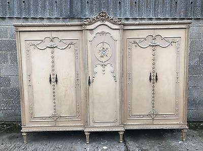Rare, French, Antique, Vintage Original Paint Armoire, 5 Door, Suite