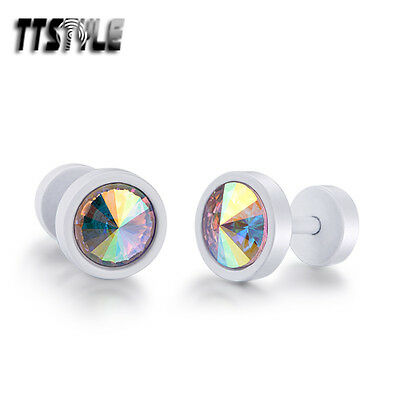 TTstyle 8mm White Surgical Steel Round AB Shine Swarovski Crystal Earrings Pair