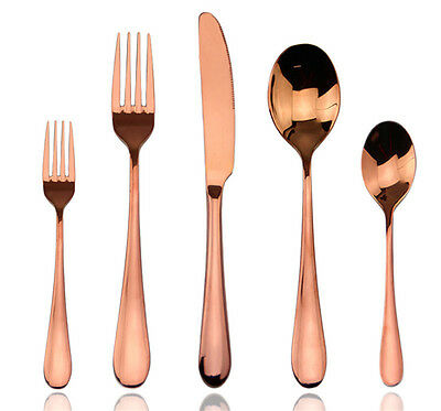 Rose Gold Plated Flatware Cutlery Stainless Steel Dinnerware 5Pcs Set for 4 6 10