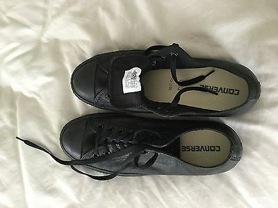 All Leather black converse shoes mens size 9