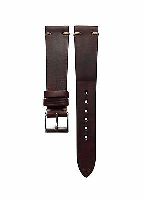 20mm Vintage Distressed Burgundy Brown Leather Watch Strap Handmade in Italy
