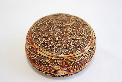 Old Chinese Hand Carved Dragon Trinket Box
