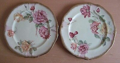 2 Beautiful and rare 1930's Hammersley and Co. Rose decorated Gilded Side Plates