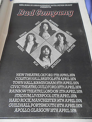 """Bad Company """"tour Dates And Venues For Their Debut"""" 1974 Advert  Paul Rodgers"""