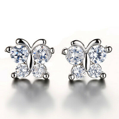 FASHIONS FOREVER® 925 Sterling Silver Butterfly AAA-Cubic Zirconia Stud Earrings