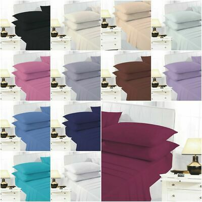 Plain Dyed Polycotton Fitted Bed Sheet Comfort Single 4ft Double King Super King